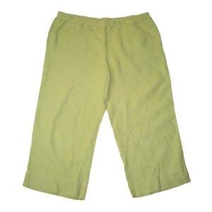 NWT J. Jill L PL Kiwi Green Capri Pants Linen